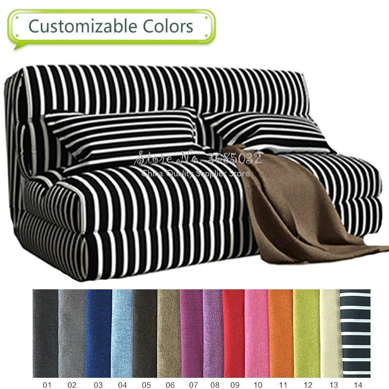 60/90/120cm Fashion Sofa Bed Lazy Couch Folding Velvet Stripe Tatami Bedroom Sofa...