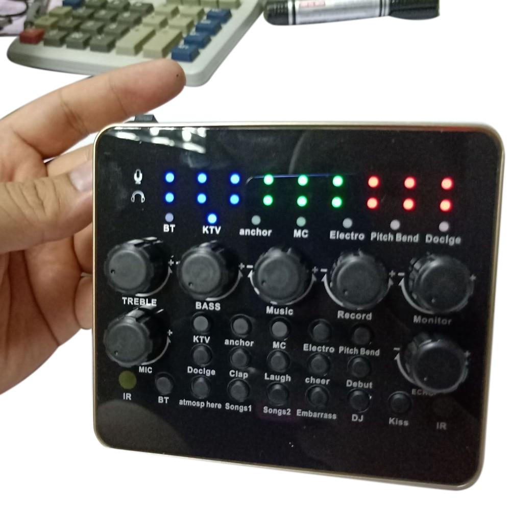 KTV Live Broadcast Singing Computer Mobile Phone Sound Card 3D Recording Microphone Audio USB Port Headset External Mixer