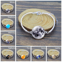 Silver Bracelet Solar System Planet Moon Earth Sun Mars Saturn Stars Cuff Bracelet Jewelry Christmas Gift fashion solar system moon earth mars planet necklace antique silver crescent moon pendant chain necklace outer space jewelry