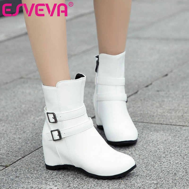 ESVEVA 2020 Kadın Ayakkabı yarım çizmeler Sivri Burun Zarif PU Deri Fermuar Kama Yüksek Topuk Motosiklet Platform Önyükleme Boyutu 34- 43