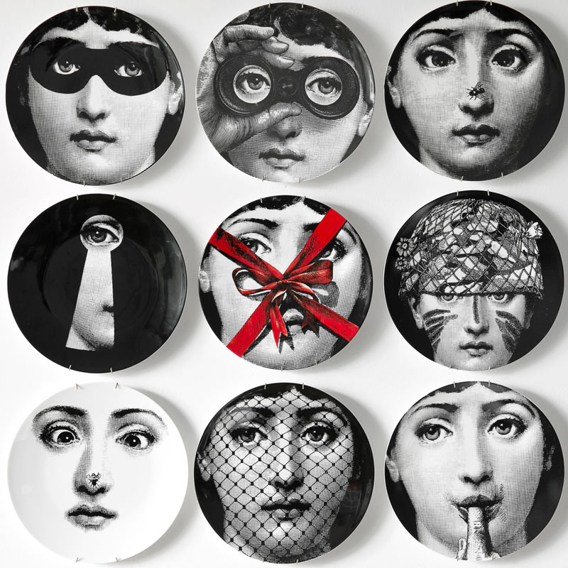 Fashion Fornasetti Ceramic Decor Dessert Tray Europe 8-Inch Plate Decorative Hanging Plates Home Decoration Wall Dishes