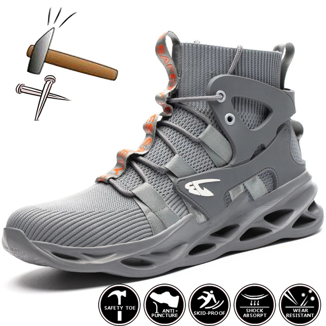2021 Male Work Boots Indestructible Safety Shoes Men Steel Toe Shoes Puncture-Proof Work Sneakers Male Shoes Adult Work Shoes 1
