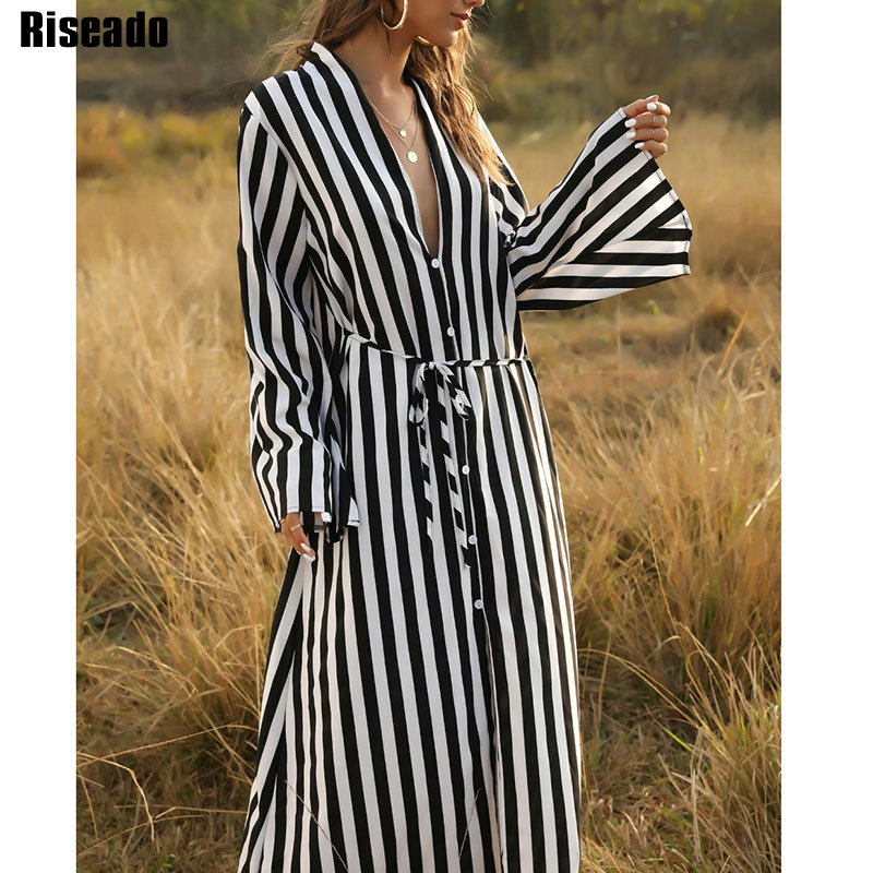 Riseado Striped Long Beach Dress 2020 Boho Beach Tunic Cover Ups Bikinis Women Pareo Swimwear Dress Swimsuits Beach Wear