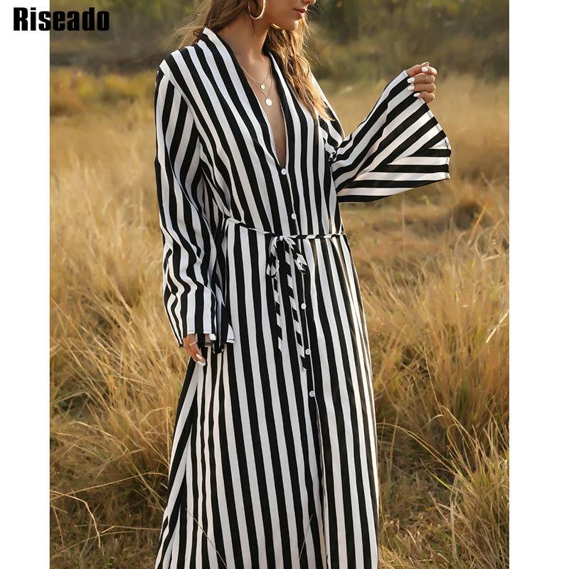 Riseado Striped Long Beach Dress 2020 Boho Beach Tunic Cover Ups Bikinis Women Pareo Swimwear Dress Swimsuits Beach Wear