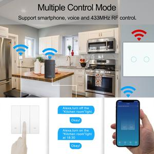 Image 3 - Wifi Wall Touch Switch EU No Neutral Wire Required Smart Light Switch 1 2 3 Gang 220V Tuya Smart Home Support Alexa Google Home