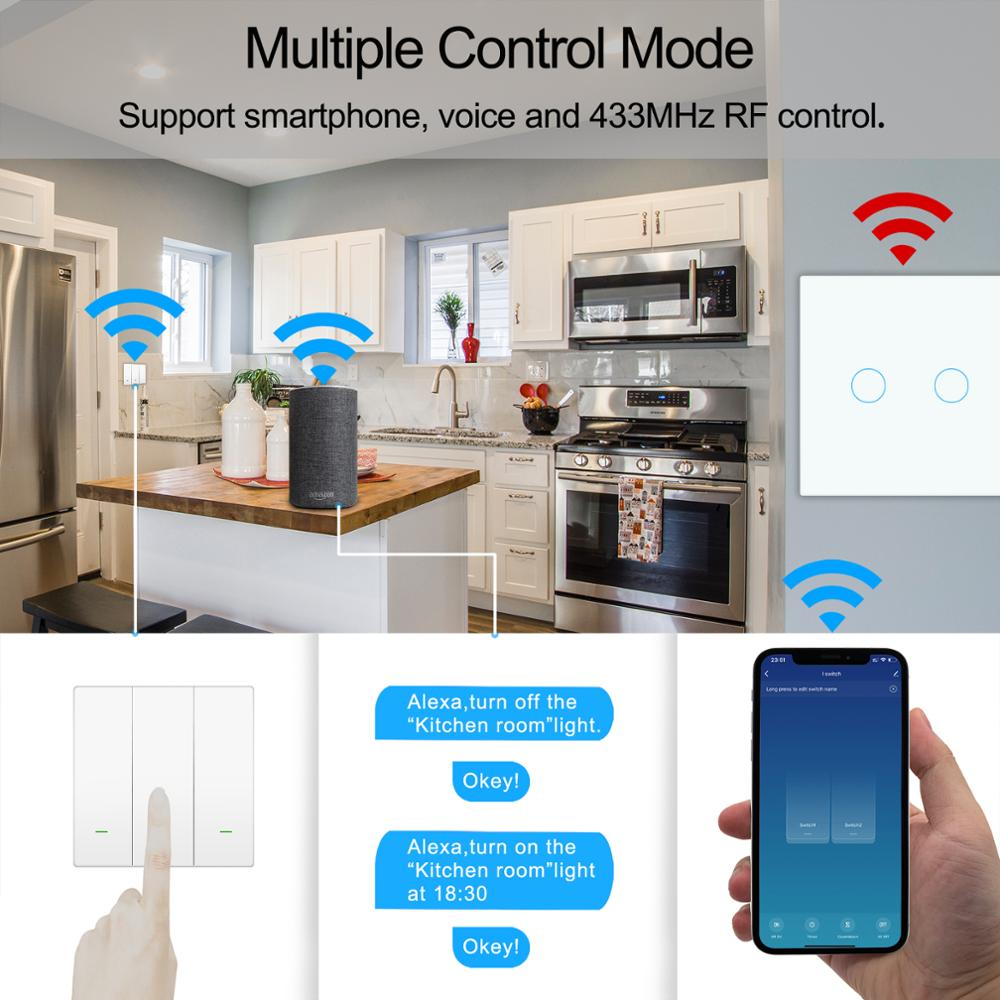 Image 3 - Wifi Wall Touch Switch EU No Neutral Wire Required Smart Light Switch Tuya RF433 Smart Home Controller Support Alexa Google HomeHome Automation Modules   -