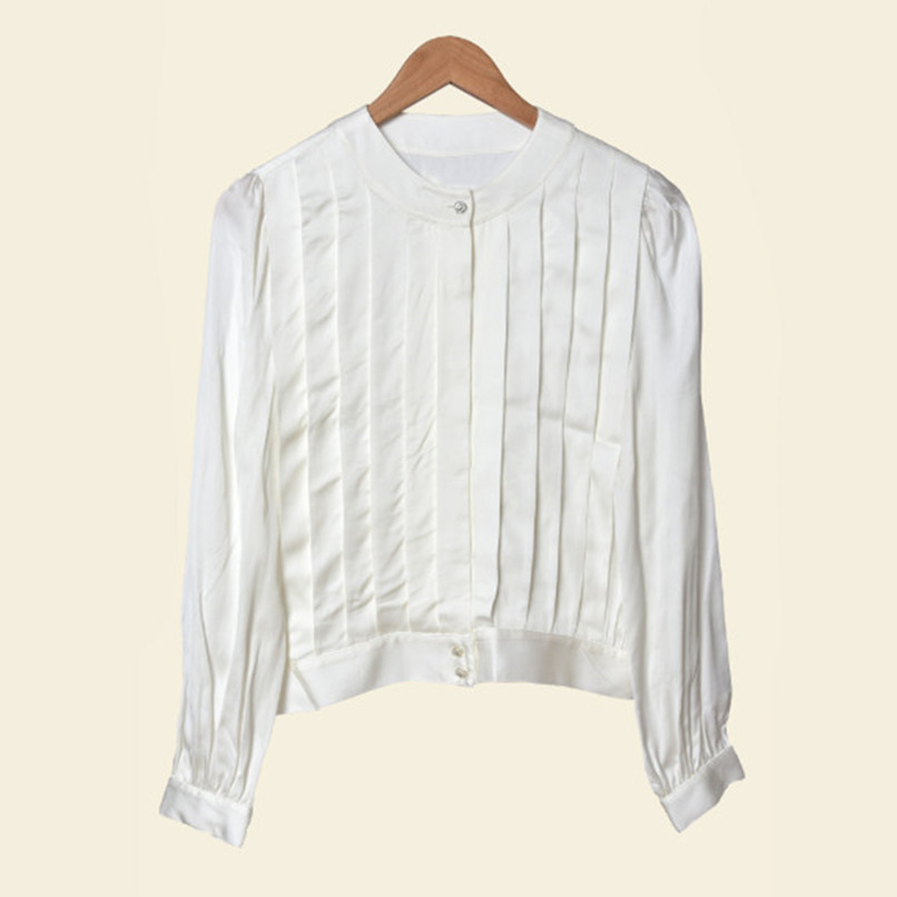 100% Viscose White Office ladies Blouse Autumn Winter simple puff sleeves O neck Pleated women work casual shirt blouses and top