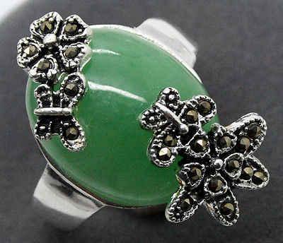 Lady's valentise ของขวัญ 925 เงินสเตอร์ลิงดอกไม้ Marcasite สีเขียวธรรมชาติหยกมรกตแหวน SZ 7/8/9 /10 5.29