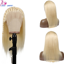 Kissmee Straight 613 Blonde Lace Front Human Hair Wigs Long Platinum 13*4 Remy Peruvian For Black Women