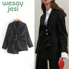 Vintage Women Blazer stripe Asymmetry Workwear 2019 new Pockets Jackets Female Retro Suits casual Streetwear women