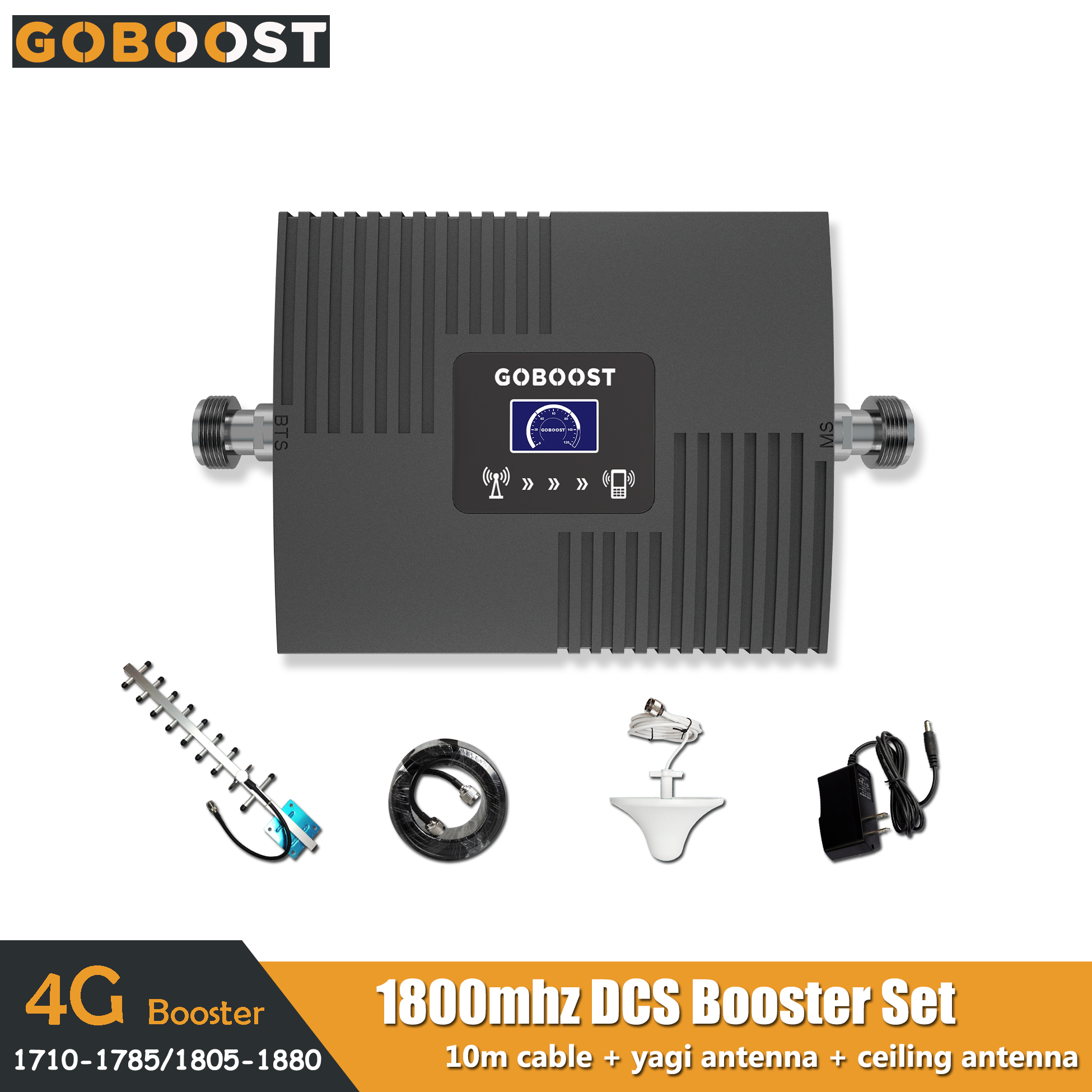 2G 4G DCS LTE 1800mhz Band3 Mini LCD Display Cellular Mobile Signal Booster Repeater Amplifier Network Ceiling+Yagi Antenna 65dB