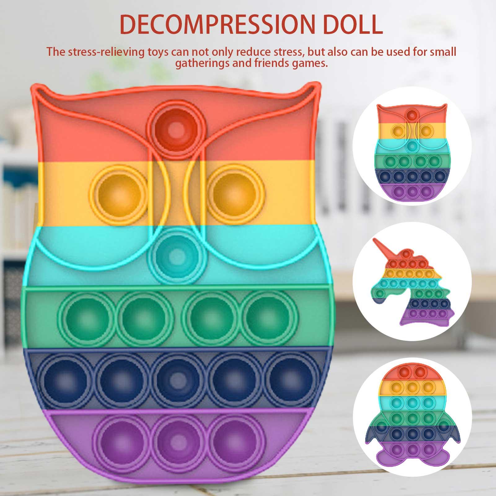 Brinquedo do arco-íris da bolha dos pops do impulso para o autismo necessidades especiais do autismo de adhd