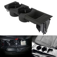 Drink Bottle Tray Car Accessories Black + Coin Storage Box Kit Durable Interior Parts Cup Holder Set Saving Space For BMW E46