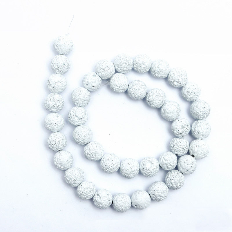 1strand/lot Natural Stone Beads White Black Rock Lava Beads 6 <font><b>8</b></font> 10 12 mm Round Loose Spacer Bead For DIY Jewelry Making Handmade image