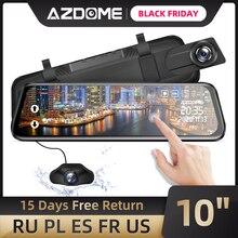 """AZDOME caméra de tableau de bord avec rétroviseur 10 """", dashcam, enregistreur vidéo en Streaming, FHD 1080P, double len (PG02)"""