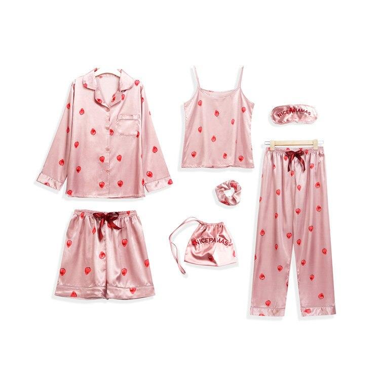 Spring Summer New Style Imitated Silk Fabric Strawberry Seven Sets Pajamas Women Long Sleeve Camisole Shorts Homewear Set 7