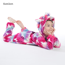 Kigurumi Stitch piżamy dziecięce jednoczęściowe kombinezony Padan kostium dla dzieci piżamy dziecięce jednorożec piżamy Onesie dziecięce kombinezony tanie tanio YSOYOK COTTON Poliester Unisex Pasuje prawda na wymiar weź swój normalny rozmiar Flanelowe Children Pajamas Cartoon unicorn
