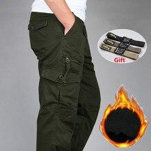 Men's Winter Cotton Fleece Warm Cargo Pants Thick Baggy Jogg
