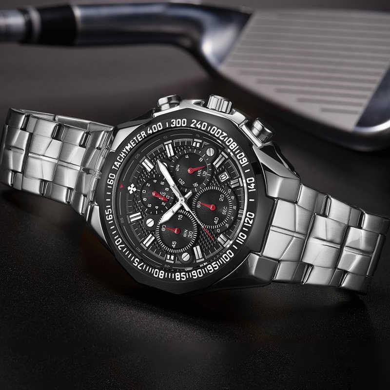 WWOOR Uhren Männer Top Marke Luxus Schwarz Sport Chronograph Uhr Mann Mode Große Zifferblatt Quarz Armbanduhr Relogio Masculino 2020