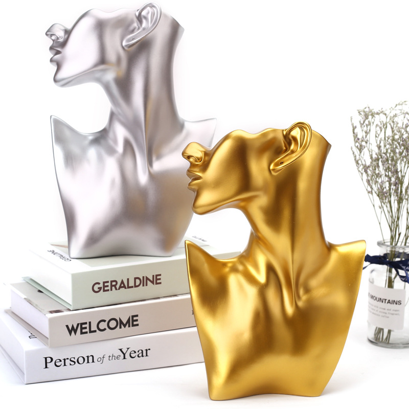 Resin Statue Home Decoration Character Sculpture Jewelry Stand Earrings Necklace Display Stand Room Decoration Fitting Crafts