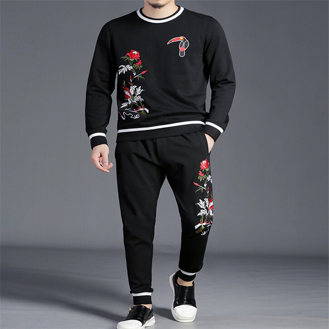 winter Fitness Tracksuit Hoodies Sets Casual Mens Clothing 2 pcs