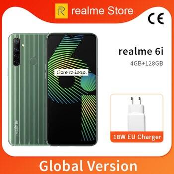 Перейти на Алиэкспресс и купить Глобальная версия realme 6i 4 Гб 64 Гб 6,5 ''мини-экран Helio G80 Восьмиядерный 48 МП AI Quad Camera 5000mAh аккумулятор