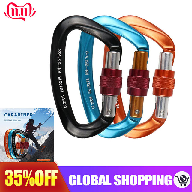 25KN Professional Climbing Carabiner D Shape Aviation Aluminum Safety Lock Outdoor Ascend Mountaineering Equipment