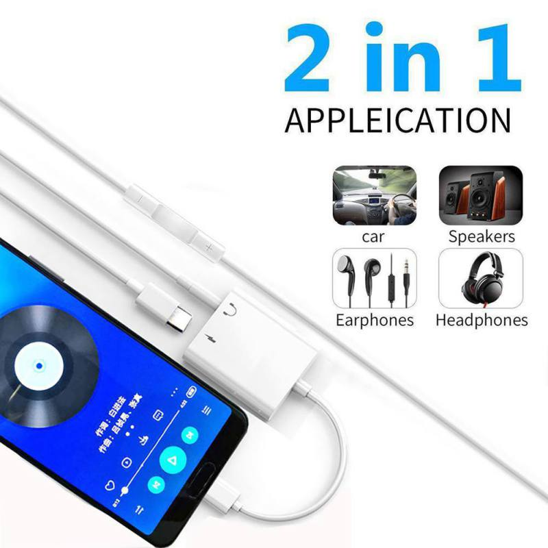 2 In 1 USB C Male To 3.5mm Female Stereo Headphone Jack Adapter Audio Fast Charging Adapter For IPad Pro Huawei P20 Google 11