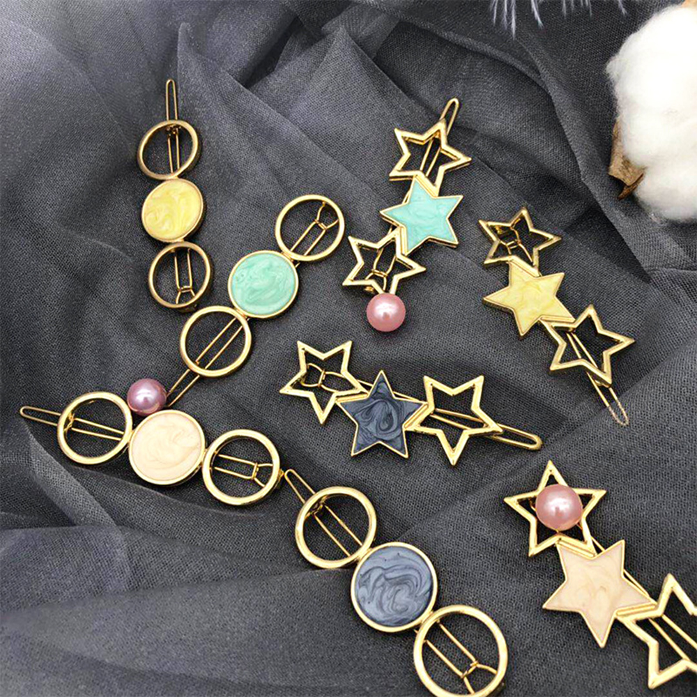 1Pcs New Fashion Women Star Round Side Clip Sweet Hairpin Metal Geometric Hair Clip Headband Girls Hair Accessories Gift