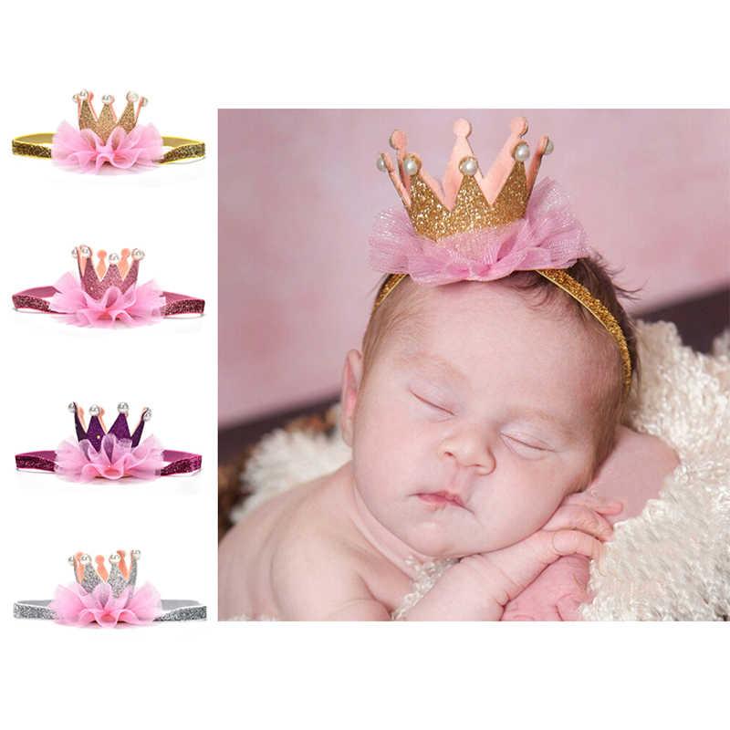 Diadema corona recién nacido corona de oro de princesa bebé niñas Linda cinta para el cabello para niñas accesorios para foto de bebé accesorios para el cabello 1 ud.