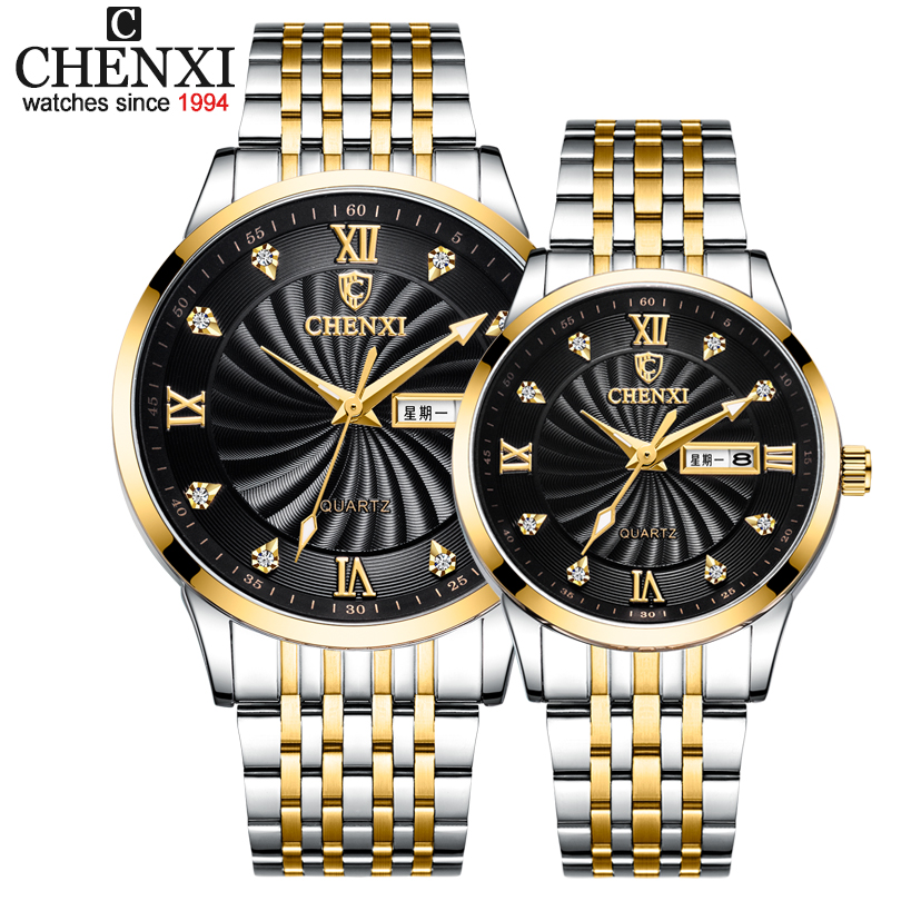 CHENXI New Couple Watches Luxury Brand Women Or Men Watches Quartz Date Week Clock Wristwatches Female Waterproof Montre Femme