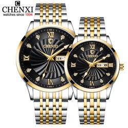 Chenxi novo casal relógios de luxo marca feminina ou masculina relógios quartzo data semana relógio de pulso feminino à prova dwaterproof água montre femme