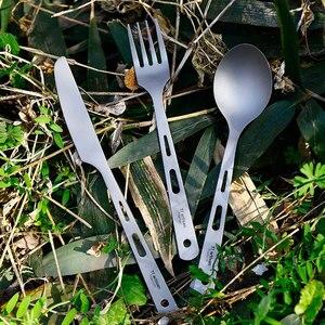 Image 5 - Tiartisan น้ำหนักเบาแบบพกพา Pure ไทเทเนียม 5 ชิ้นชุดอาหารชุดช้อนส้อมมีดตะเกียบและฟางชุดหนึ่งกรณี