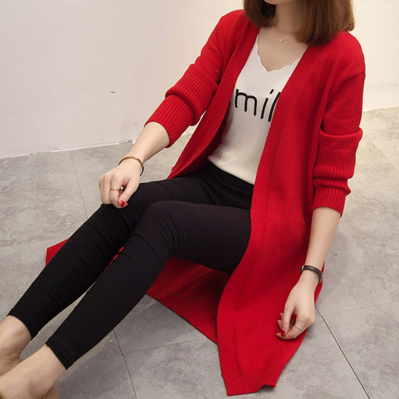 New Women Autumn Loose Long Solid Color Casual Sweater Cardigan Knitted Long Sleeve Cardigan Coat