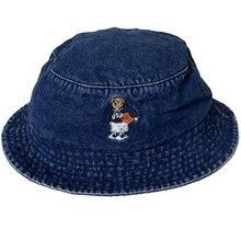 Джинсовая Бейсболка унисекс bear модная уличная Кепка из 100%