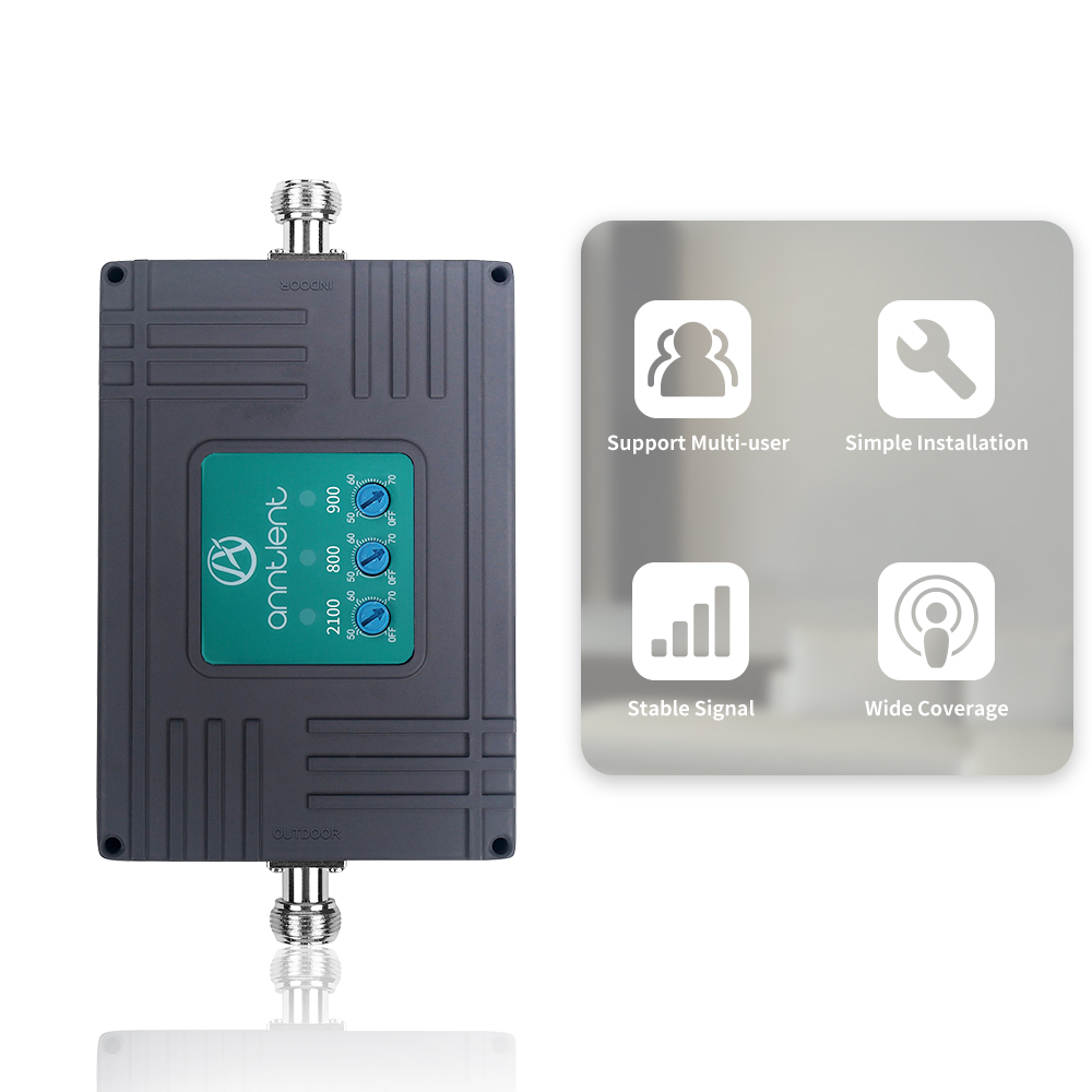 2G 3G 4G Signal Booster Tri Band Cellular Booster GSM 900/DCS LTE 800/ WCDMA UMTS 2100 MHz Mobile Signal Repeater Amplifier Set