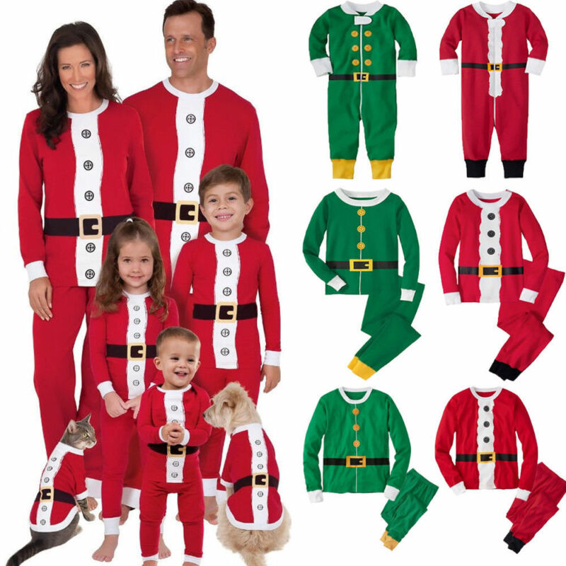 Newest Christmas Family Matching Pajamas Set Adult Kids Women Christmas Santa Claus Nightwear Photography Clothes