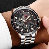 새로운 lige 스포츠 크로노 그래프 남성 시계 브랜드 럭셔리 전체 스틸 쿼츠 시계 방수 빅 다이얼 시계 relogio masculino + box