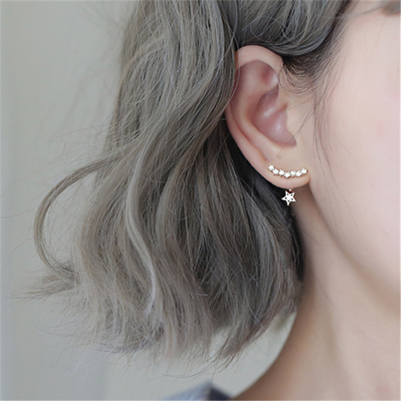 Fashion Jewelry 925 Sterling Silver Star Stud Earrings For Women Romantic Earring Brincos pendientes eh1288