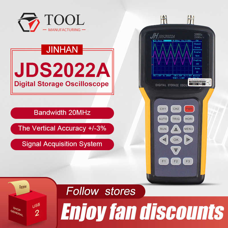 Jinhan JDS2022A Oscilloscoop Apparaten 200M 20 Mhz Bandbreedte 2 Channel Handheld Multimeter JDS2012A Digitale Geheugen Oscilloscoop