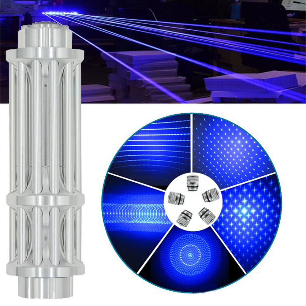 Most Powerful Blue Laser Torch 450nm 10000m Focusable Blue Laser Pointers Flashlight Burn Match Candle Lit Cigarette