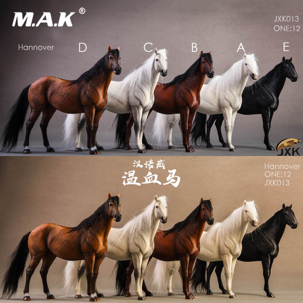JXK013 1/<font><b>12</b></font> German Hanover Warm-blooded <font><b>Horse</b></font> Static Animal & Harness Model Props for 6inch Action <font><b>Figure</b></font> Scene Accessory DIY image