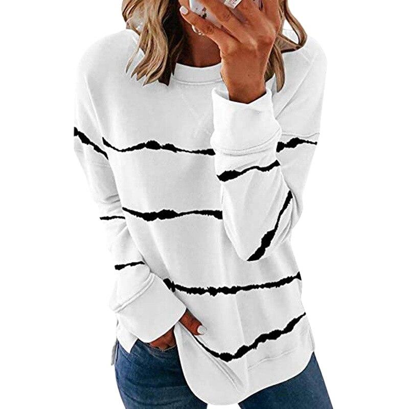 Striped Print Long Sleeve Black Hoodies Women 2020 Big Size 5XL Casual Tee Black Autumn Top O-Neck Loose Sport Ladies Hoodies 10