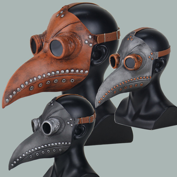 Plague Doctor Mask Steampunk Cosplay Bird Beak Long Nose Latex Masks Masquerade Carnival Halloween Party Props