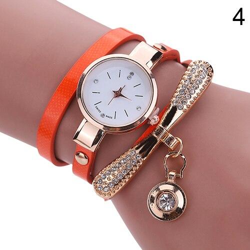 Женщины мода многослойный горный хрусталь круглый кулон кварц браслет наручные часы