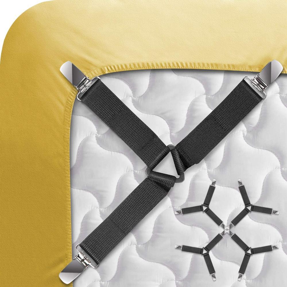 4Pcs/Set Bed Sheet Clip Grippers Suspender Cord Hook Loop Clasps Adjustable Elastic Mattress Cover Adjustable Bed Sheet Clips