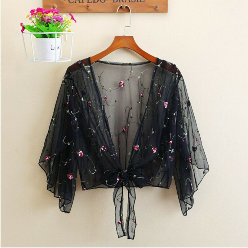 Women Beach Cover Up Summer Long Sleeve Bathing Suit Floral See-through Tops Cardigan Thin Coat Casual Party Outwear Blouse