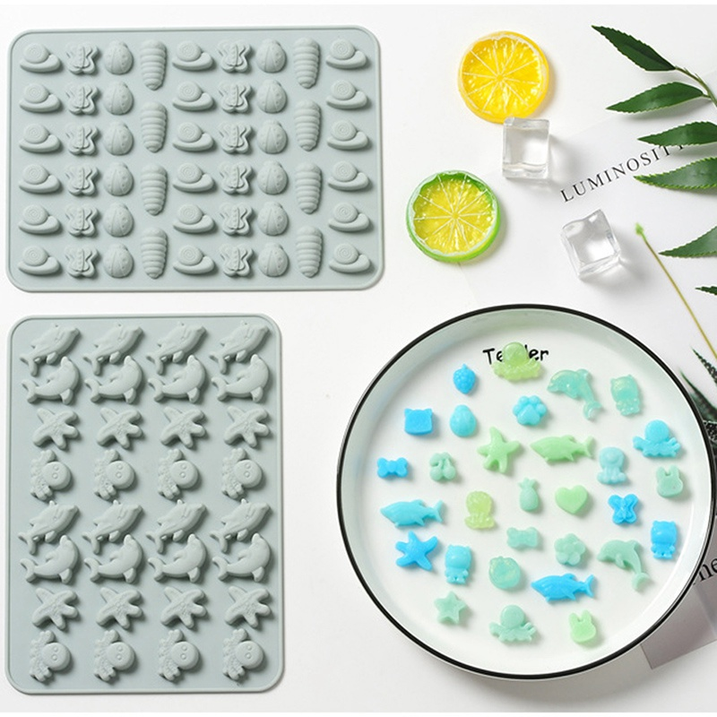 1PC Cute Cartoon Silicone Gummy Molds Candy Chocolate Geometry Animal Sea Fruit Ice Cube Moulds M