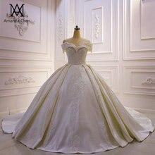 Abiti da sposa robe de mariée en Satin, épaules dénudées, avec des Appliques en dentelle