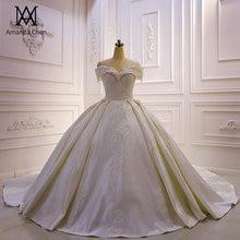 Vestido de novia de satén abiti da sposa hombros descubiertos Apliques de encaje